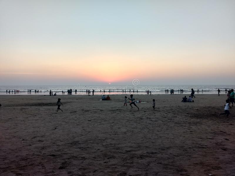 海滩和日落 库存照片