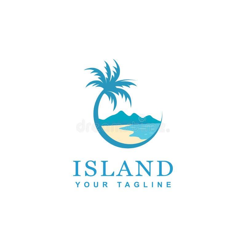 海滩和海岛商标设计,导航圆海滩象设计  向量例证