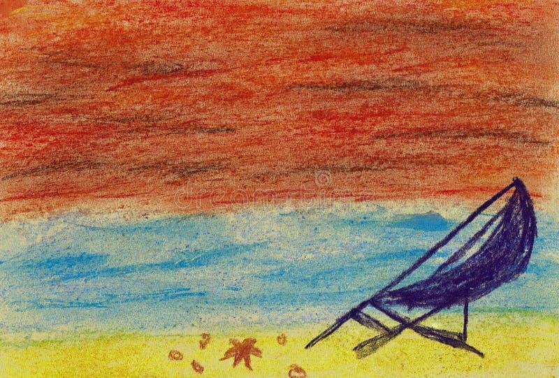 海滩和海日落的 皇族释放例证