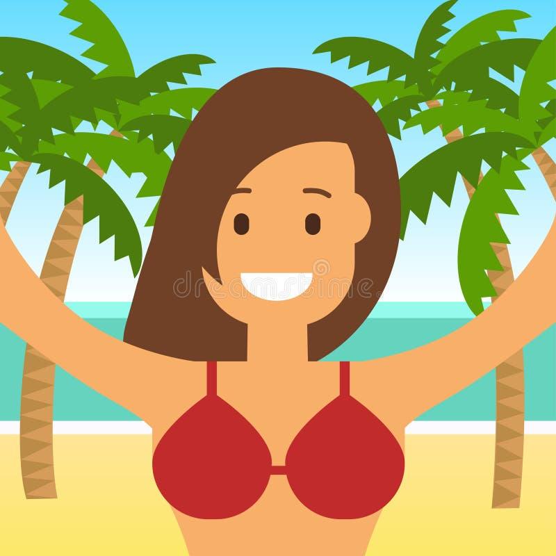 海滩和海的年轻愉快的女孩 Selfie 在平的窗框的传染媒介例证 向量例证