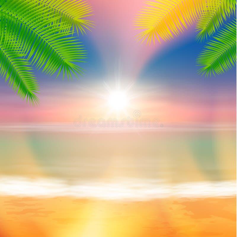 海滩和热带海有明亮的太阳的 向量例证