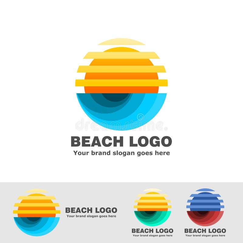 海滩商标条纹太阳和海浪 皇族释放例证