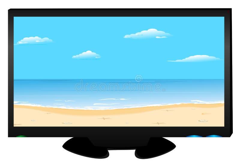 海滩图象等离子电视 库存例证