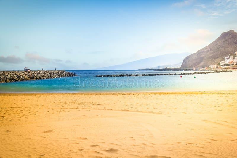 海滩圣克鲁斯de特内里费岛,西班牙 免版税库存图片