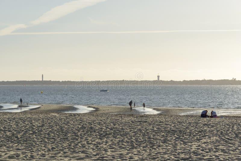 海滩在下午的法国 免版税库存照片