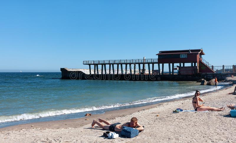海滩在傲德萨 库存图片