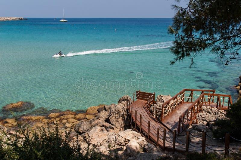 海滩在塞浦路斯 免版税库存照片