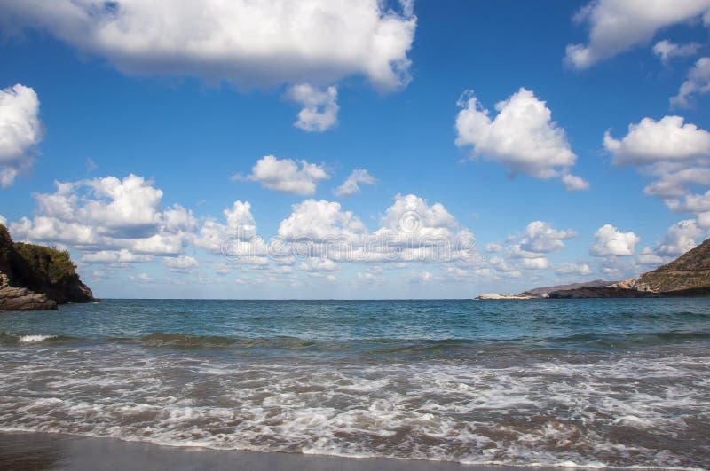 海滩在巴厘岛,克利特,希腊 库存图片