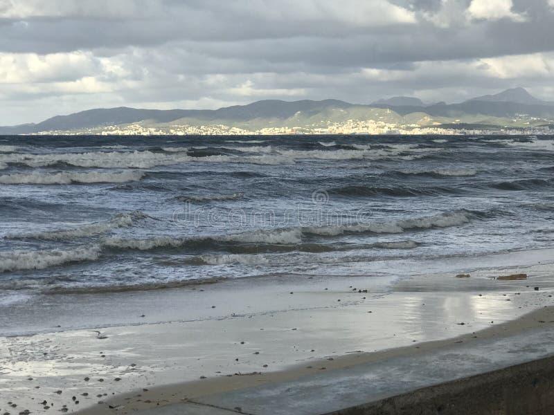 海滩在早晨 库存图片