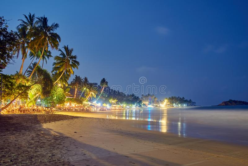 海滩在晚上在斯里兰卡 免版税库存图片