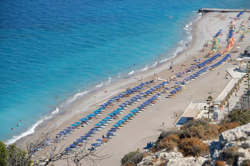 海滩在罗得岛海岛,希腊 库存图片