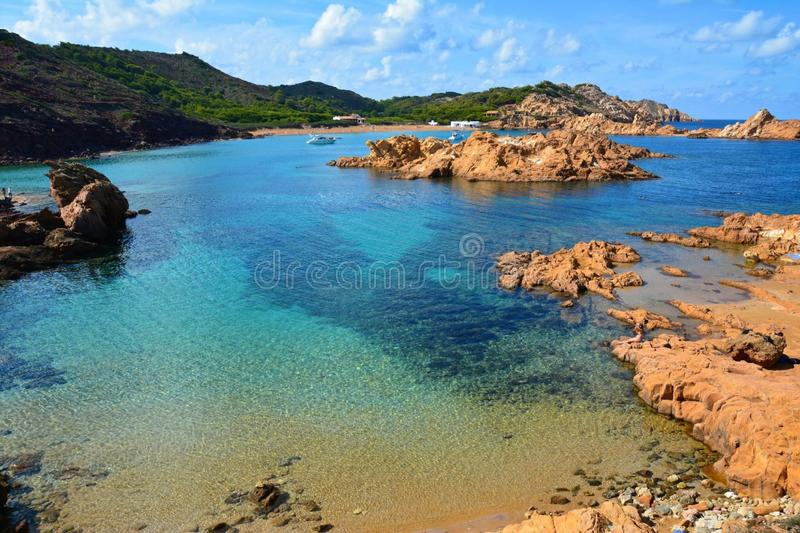 海滩在Menorca巴利阿里群岛 图库摄影