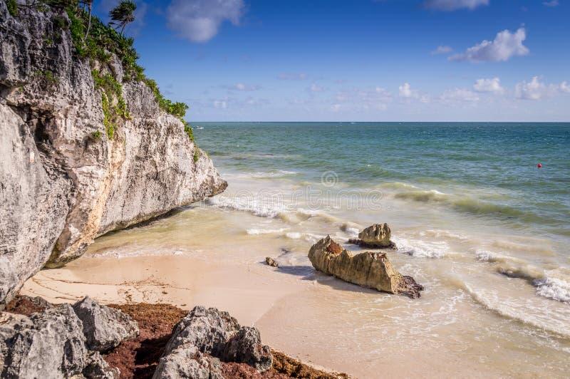 海滩在Tulum,墨西哥 库存照片