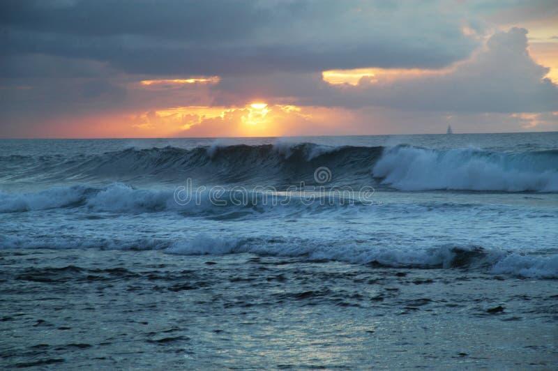 海滩夏威夷日落 免版税库存图片