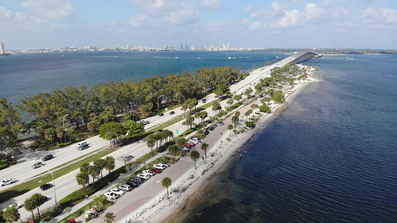 海滩天空迈阿密海洋水天空 库存照片