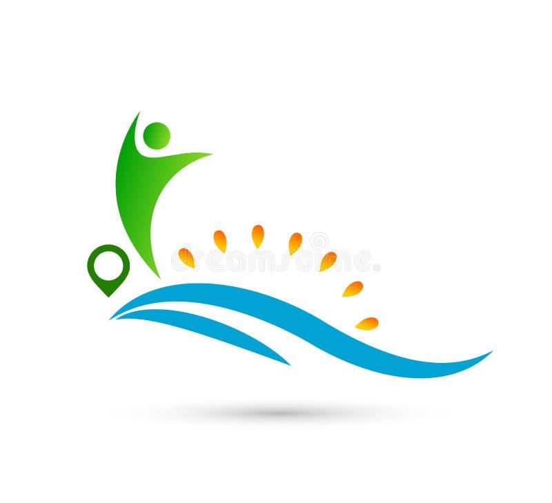 海滩太阳光芒水波人联合庆祝新理念标志 向量例证