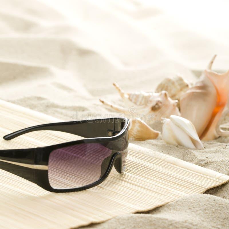 海滩太阳镜 免版税库存图片
