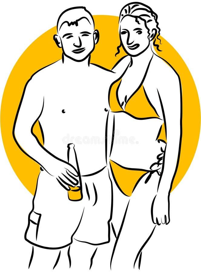 海滩夫妇 向量例证