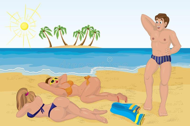 海滩女孩人满足晒日光浴的二 皇族释放例证