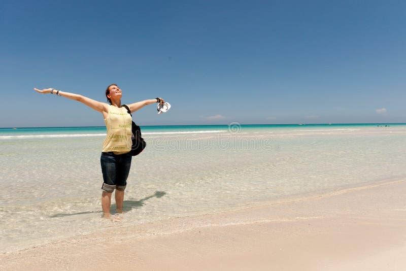 海滩女性年轻人 库存照片
