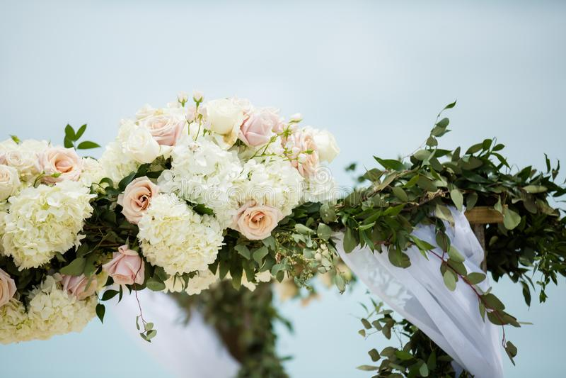 海滩婚礼花 图库摄影
