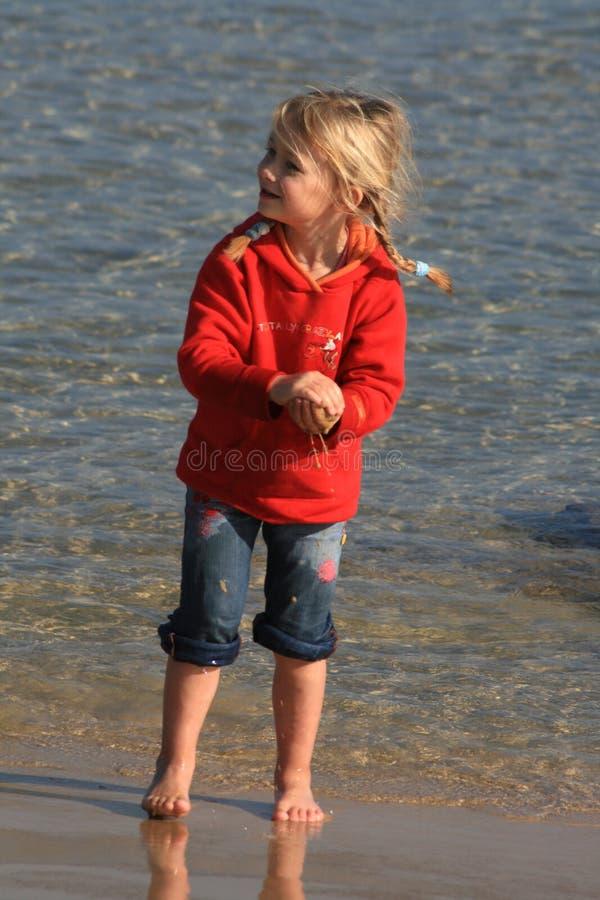 海滩孩子使用 免版税图库摄影