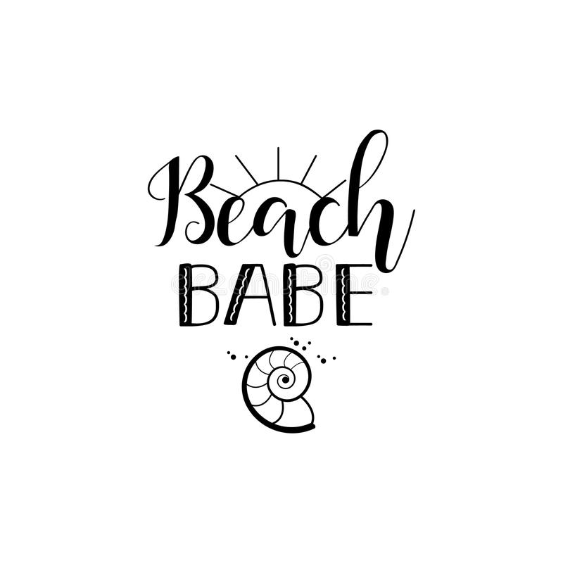 海滩宝贝 字法 夏天激动人心的行情 夏天T恤杉打印,签字,邀请,海报 向量例证