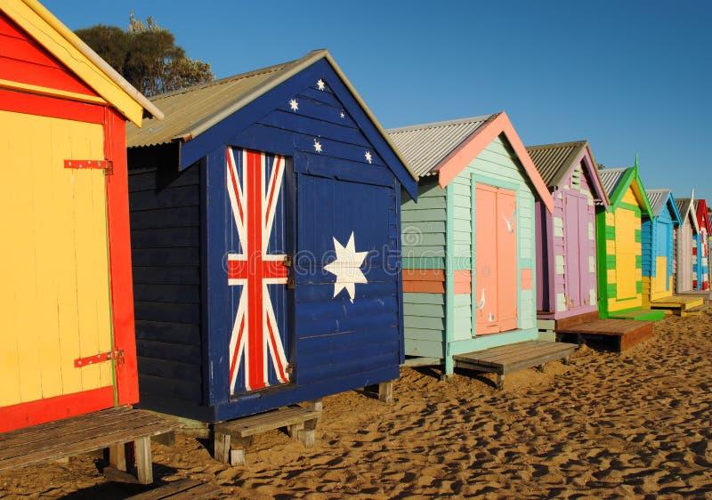 海滩客舱墨尔本 免版税库存照片