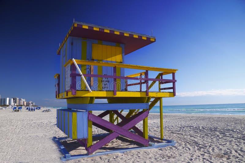 海滩小屋图标式的救生员南的迈阿密 图库摄影