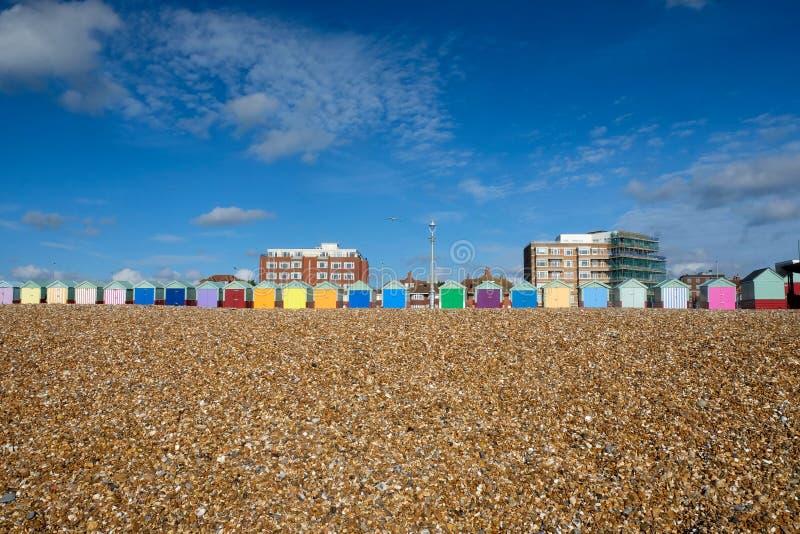 海滩小屋布赖顿-霍夫 库存图片