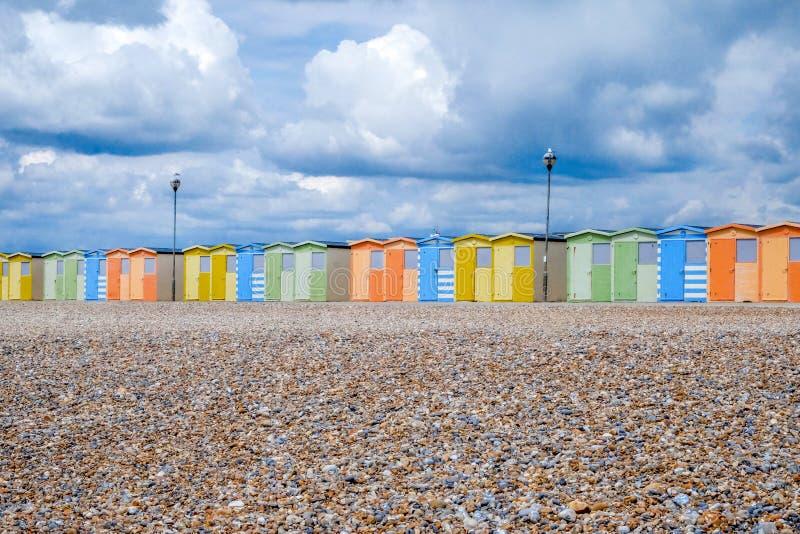海滩小屋线在Pebble海滩的 库存图片