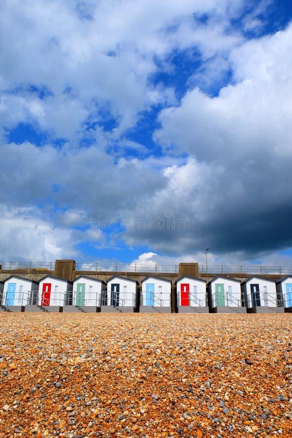 海滩小屋线在Pebble海滩的 免版税库存图片
