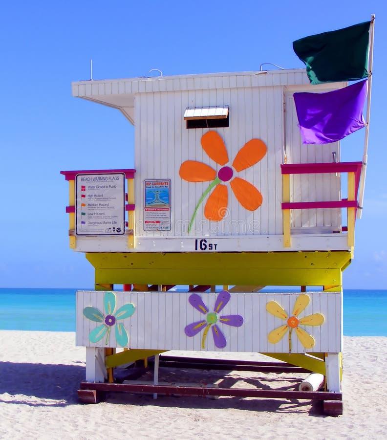 海滩小屋迈阿密 免版税库存图片