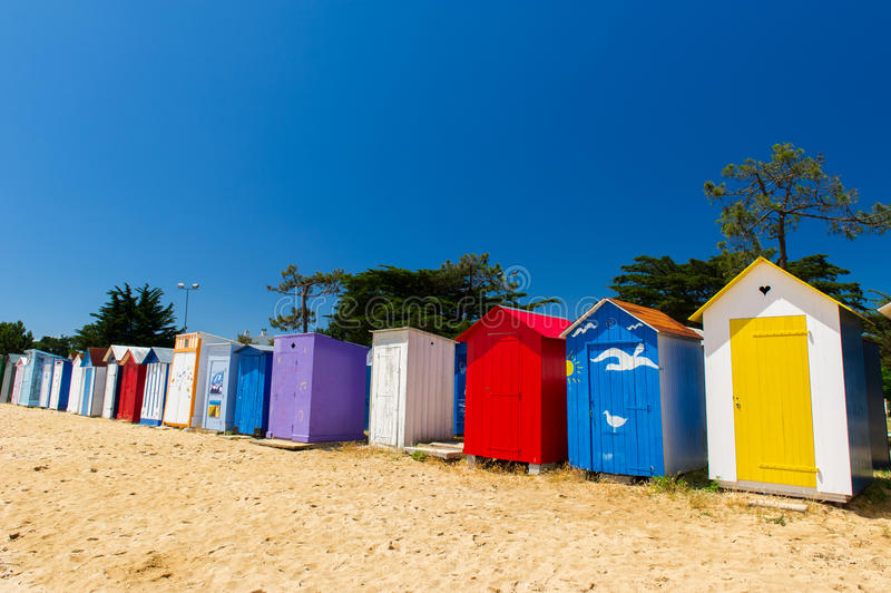 海滩小屋Oleron海岛 库存图片