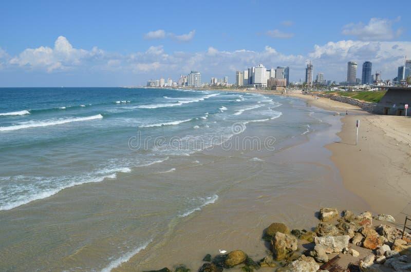 海滩小径码头海运 aviv以色列tel 库存照片