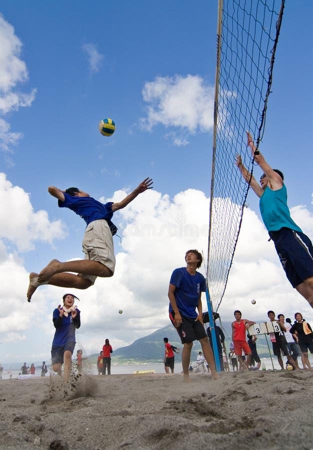 海滩峰值排球 免版税图库摄影