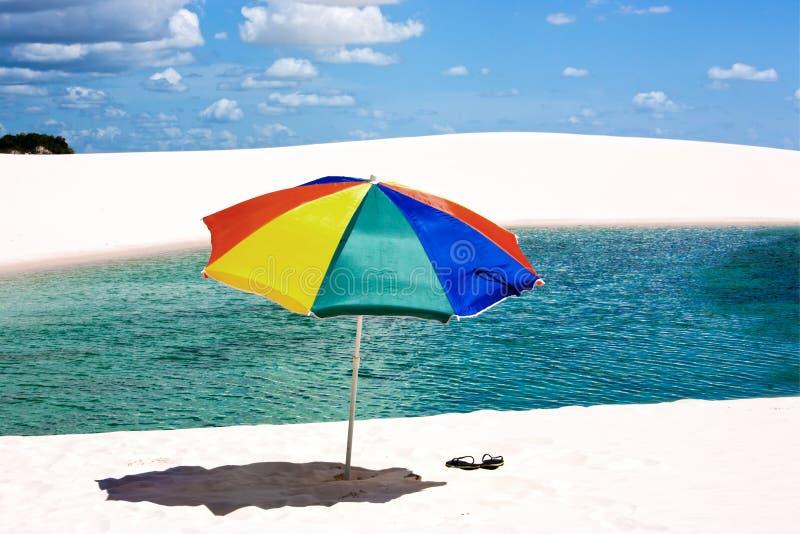 海滩巴西lencois maranheses公园伞 免版税图库摄影