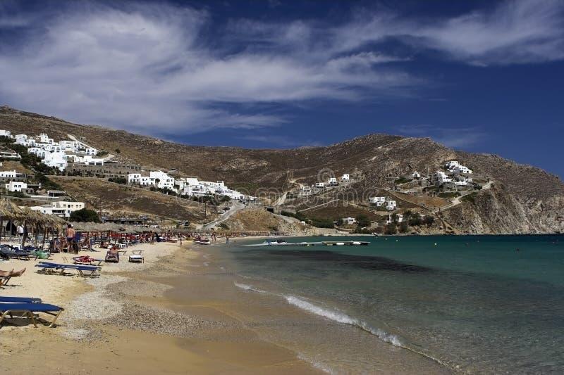 海滩希腊海岛 免版税图库摄影