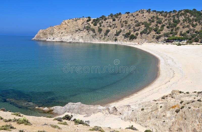 海滩希腊海岛samothraki 免版税库存图片