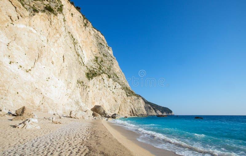 海滩希腊katsiki lefkada波尔图白色 库存图片