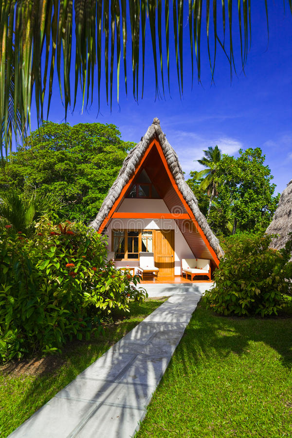 海滩平房旅馆热带的塞舌尔群岛 库存图片
