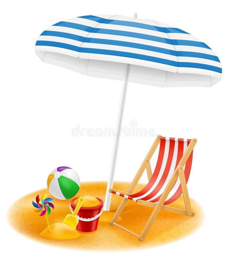 海滩归因于伞和轻便折叠躺椅股票传染媒介illustrati 向量例证