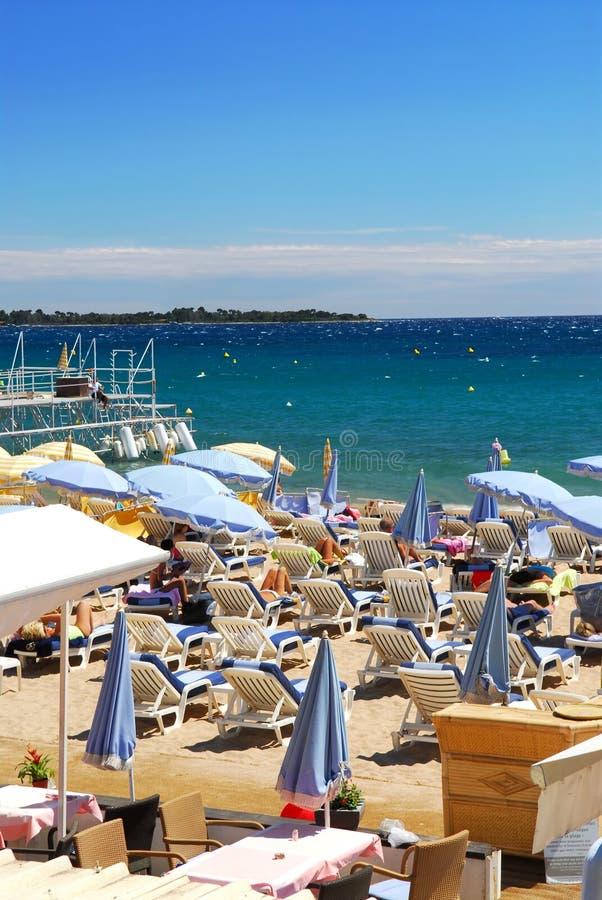 海滩戛纳法国 免版税图库摄影