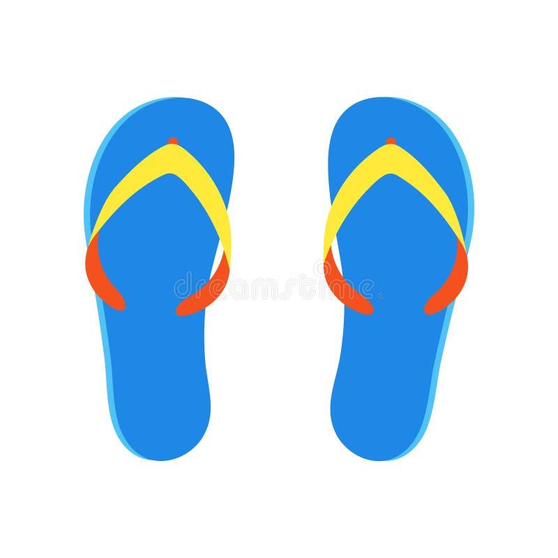 海滩拖鞋在白色背景象标志隔绝的触发器平的样式设计传染媒介例证 向量例证