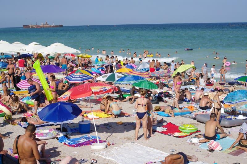 海滩拥挤了 免版税库存图片