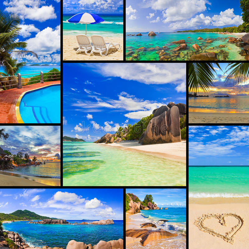 海滩拼贴画图象夏天 库存图片