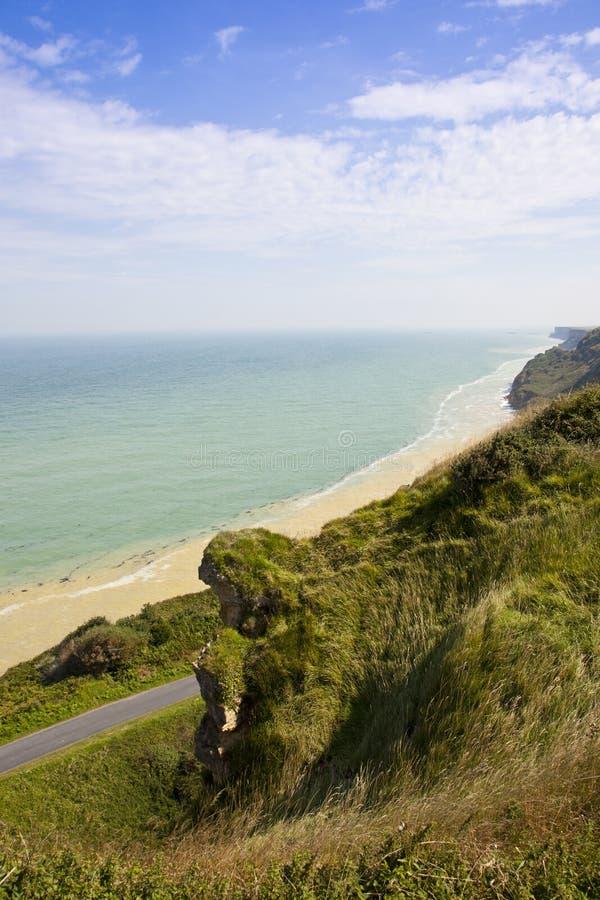 海滩攻击开始日法国诺曼底视图 库存照片