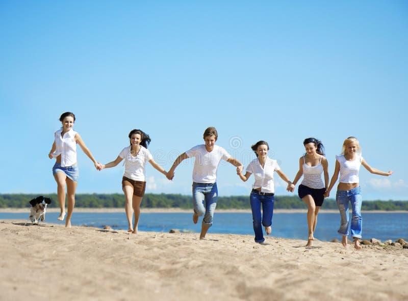 海滩放松组的人 免版税库存图片