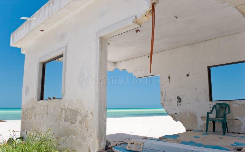 海滩故障前面房子风暴 库存图片