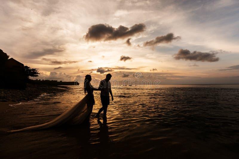 海滩新婚佳偶 免版税图库摄影